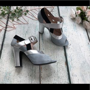 Miu Miu 38.5 Mary Jane heels silver grey leather